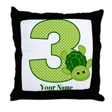 Personalized Turtle 3rd Birthday Throw Pillow