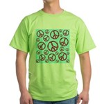 Peace Symbols Galore Green T-Shirt