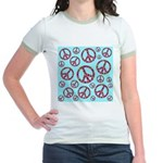Peace Symbols Galore Jr. Ringer T-Shirt