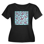 Peace Symbols Galore Women's Plus Size Scoop Neck