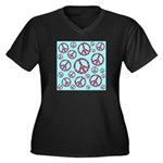 Peace Symbols Galore Women's Plus Size V-Neck Dark