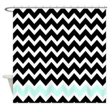 black and mint zigzags Shower Curtain