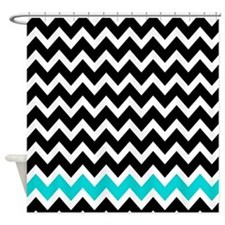 black and turquoise zigzags 1 Shower Curtain