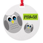PEACE Owls Ornament