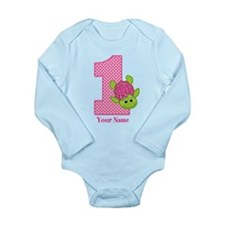 Personalized Pink Turtle 1st Birthday Long Sleeve