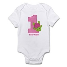 Personalized Pink Turtle 1st Birthday Infant Bodys
