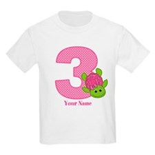 Personalized Pink Turtle 3rd Birthday T-Shirt