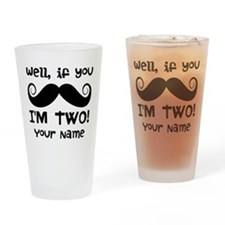 2nd Birthday Mustache Drinking Glass