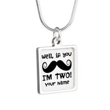 2nd Birthday Mustache Silver Square Necklace