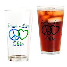 Peace Love Ohio Drinking Glass