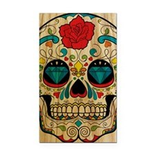 Wood Sugar Skull Rectangle Car Magnet