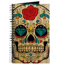 Wood Sugar Skull Journal