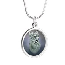 Snow Leopard Silver Round Necklace