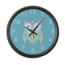 Colorful Owl Large Wall Clock