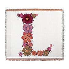 L Pink Flowers Woven Blanket