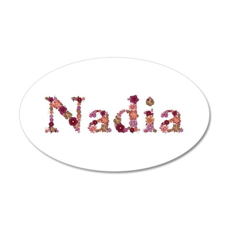Nadia Pink Flowers 35x21 Oval Wall Decal