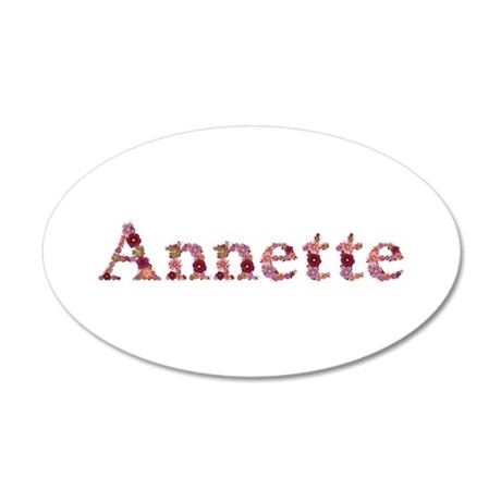 Annette Pink Flowers 20x12 Oval Wall Decal