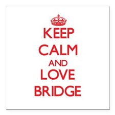 "Keep calm and love Bridge Square Car Magnet 3"" x 3"
