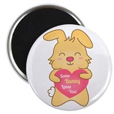 Some bunny loves you, cute humor Magnets