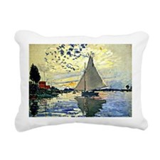 Monet - Sailboat at le P Rectangular Canvas Pillow