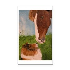 Sable Sheltie and Horse Rectangle Car Magnet