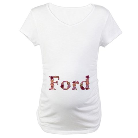 Ford Pink Flowers Maternity T-Shirt
