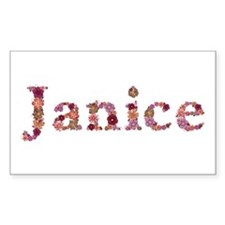 Janice Pink Flowers Rectangle Decal