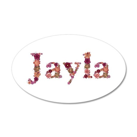 Jayla Pink Flowers 20x12 Oval Wall Decal