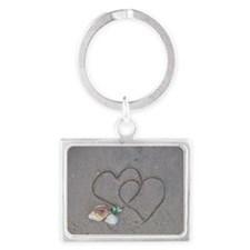 hearts and shells on sand Landscape Keychain