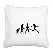 Female Runner Evolution Square Canvas Pillow