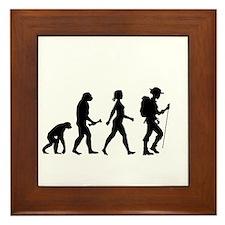 Female Hiker Evolution Framed Tile