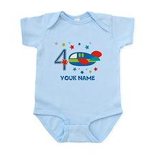 Airplane 4th Birthday Custom Infant Bodysuit