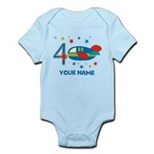 Airplane 4th Birthday Custom Onesie