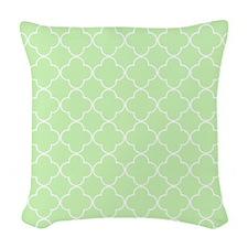 Mint Quatrefoil Monogram Woven Throw Pillow