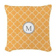 Orange Quatrefoil Monogram Woven Throw Pillow