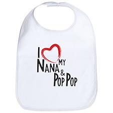 I heart my Nana and Pop Pop Bib