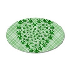 Marijuana Leaf Heart Wall Decal