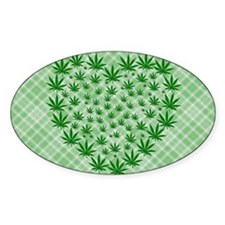 Marijuana Leaf Heart Decal
