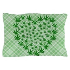 Marijuana Leaf Heart Pillow Case