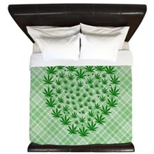 Marijuana Leaf Heart King Duvet
