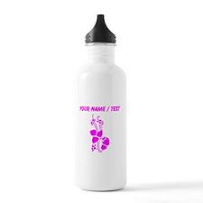 Custom Pink Floral Water Bottle