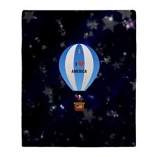 I Love America - hot air balloon wit Throw Blanket