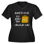 Band Is Great Women's Plus Size V-Neck Dark T-Shir