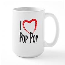 I heart pop pop, I love pop pop Mugs