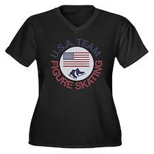 U.S.A. Team  Women's Plus Size V-Neck Dark T-Shirt