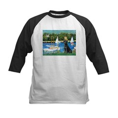 Sailboats & Black Lab Kids Baseball Jersey
