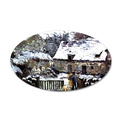 Pissarro - Farm at Montfouca 35x21 Oval Wall Decal