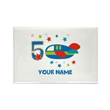 Airplane 5th Birthday Rectangle Magnet