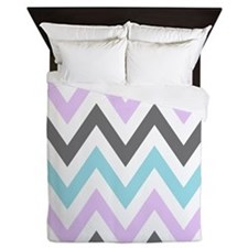 Purple, blue and Gray zigzags Queen Duvet