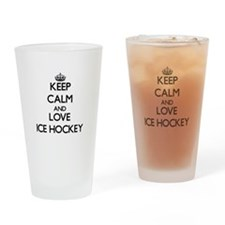 Keep calm and love Ice Hockey Drinking Glass